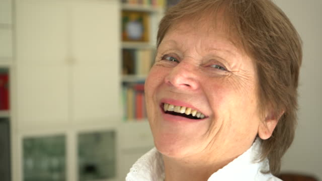 portrait of happy senior caucasian woman, close-up - 70 79 years stock videos and b-roll footage