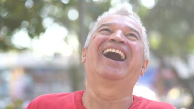 portrait of happy senior man - southern european stock videos & royalty-free footage