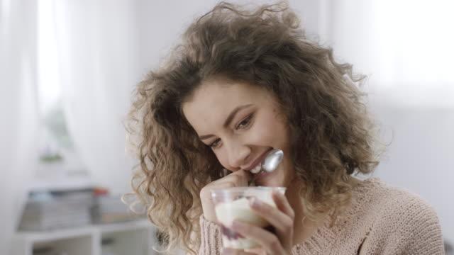 portrait of happy woman having desert - temptation stock videos & royalty-free footage