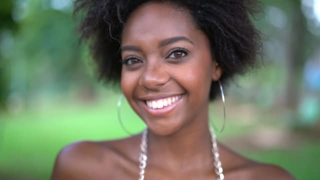 Portrait of Happy Young Afro Woman
