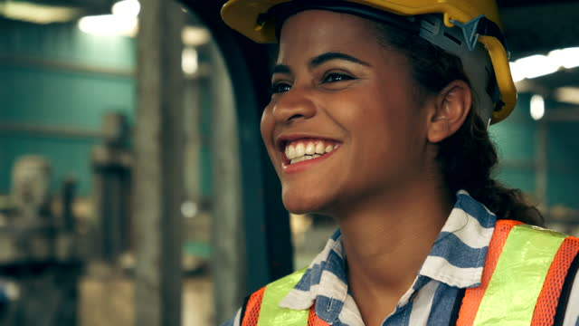 portrait of happy young woman industrial engineers - body positive stock videos & royalty-free footage