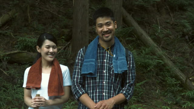 portrait of hikers (slow motion) - lypsekyo16 stock videos and b-roll footage