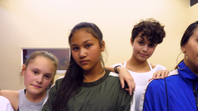 ms portrait of hip hop dance students in studio after dance class - dance studio stock videos & royalty-free footage