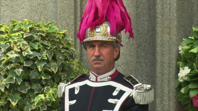 CU Portrait of honor guard, Madrid, Spain