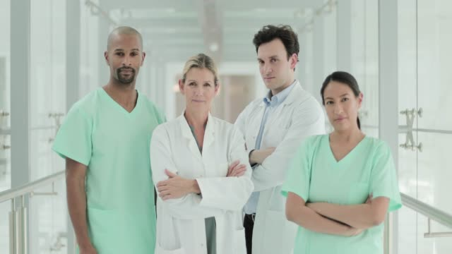 portrait of hospital team - nursing assistant stock videos and b-roll footage
