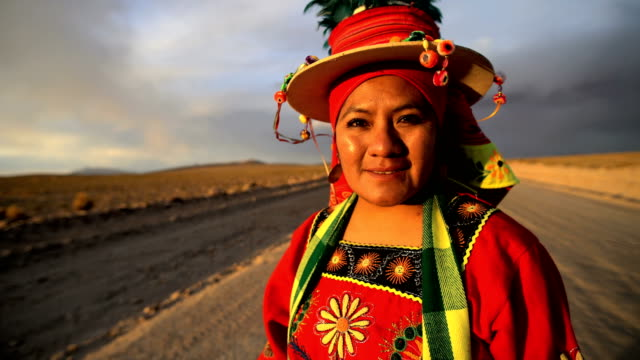 portrait of indigenous women in national headdress bolivia - south america stock videos & royalty-free footage