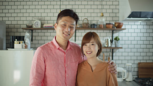 portrait of japanese couple at home - married stock videos & royalty-free footage