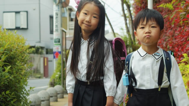 portrait of japanese schoolchildren in uniform - japanese school uniform stock videos & royalty-free footage