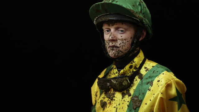 portrait of jockey - mud stock videos & royalty-free footage