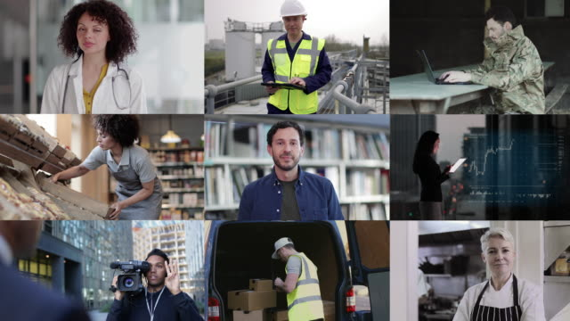 portrait of key workers industry professionals, doctor, teacher, chef, military, supermarket, delivery, and infrastructure worker, looking to camera, group of professionals split screen - business finance and industry stock-videos und b-roll-filmmaterial