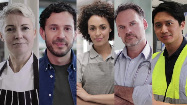portrait of key workers industry professionals, doctor, teacher, chef, supermarket and delivery worker,  looking to camera, group of professionals split screen - split screen stock videos & royalty-free footage