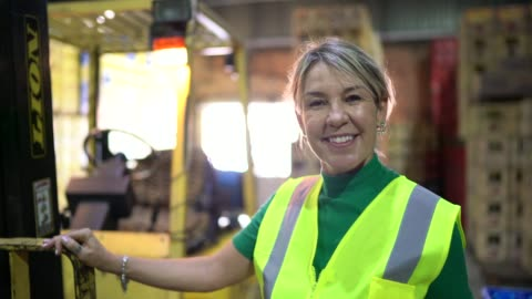 portrait of leader woman at warehouse - manual worker stock videos & royalty-free footage