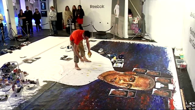 portrait of lewis hamilton painted using remote controlled cars england int close up face of portrait of lewis hamilton created using remote... - remote controlled stock videos and b-roll footage