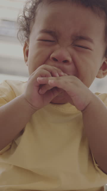 portrait of little boy , crying  mood - one baby boy only stock videos & royalty-free footage