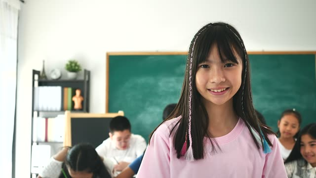 vidéos et rushes de portrait de petites filles regardant l'appareil-photo dans sa salle de classe avec ses amis sur le fond. - élève du primaire