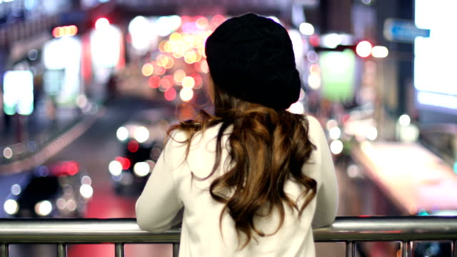 Portrait of lonely asian woman, outdoor in night