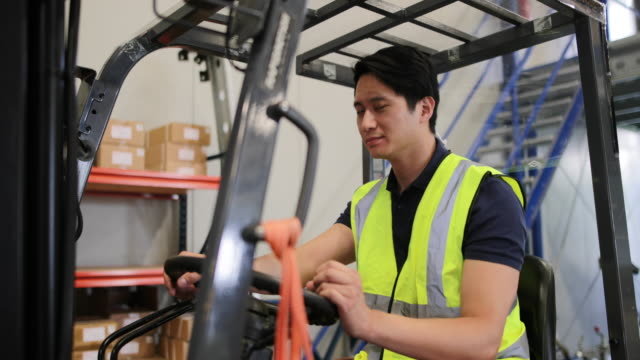 Portrait of male working in distribution warehouse on a forklift
