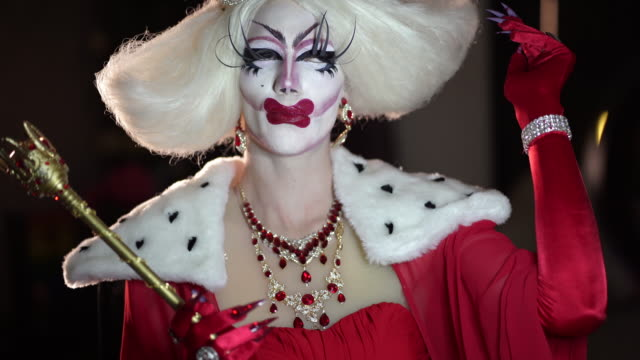 portrait of man dressed like woman with make-up and wig - drag queen stock videos and b-roll footage