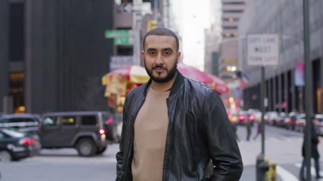 MS Portrait of man in New York street