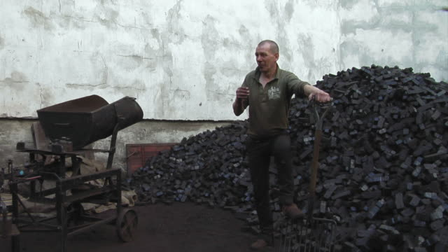 WS Portrait of mature man standing beside pile of coal, holding shovel, Berlin, Germany