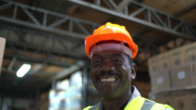vídeos de stock e filmes b-roll de portrait of mature worker organizing boxes at warehouse - operário de linha de produção