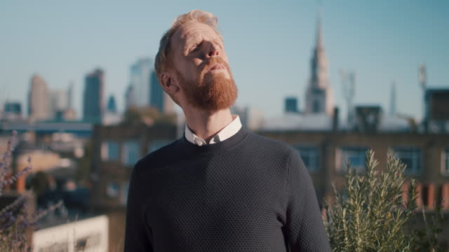 vidéos et rushes de portrait of mid adult business man with red hair and beard looking at london skyline - culture britannique