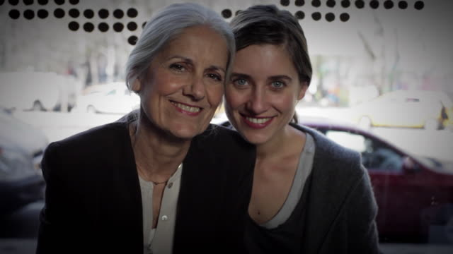ms portrait of mother and daughter sitting in café together / new york city, new york, usa - daughter stock-videos und b-roll-filmmaterial