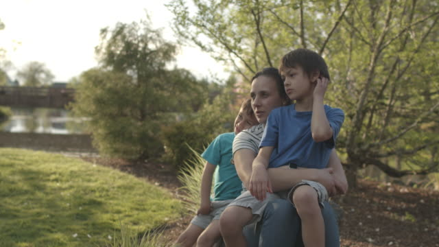 portrait of mother with her boys outdoors - one parent stock videos & royalty-free footage