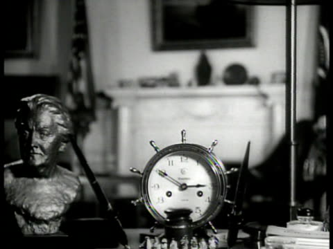MS Portrait of Mrs James Roosevelt CU Clock on desk MS Portrait of young Eleanor Roosevelt MS Corner of study VS Ship model paintings empty chair...