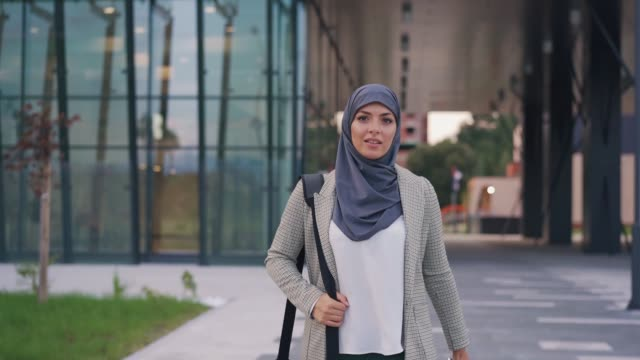 portrait of muslim businesswoman - carefree stock videos & royalty-free footage