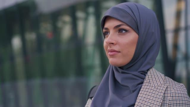 portrait of muslim businesswoman - contemplation stock videos & royalty-free footage