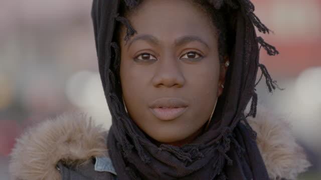 portrait of muslim woman - headscarf stock videos & royalty-free footage