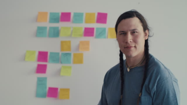 portrait of native american entrepreneur in front of adhesive notes - creative occupation stock videos & royalty-free footage