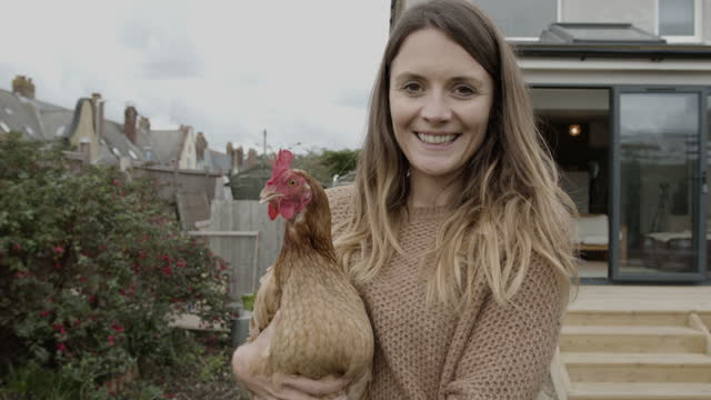 portrait of pretty woman holding hen chicken in garden at home, simple living - female animal stock videos & royalty-free footage
