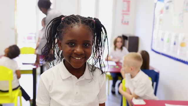portrait of primary school girl in classroom - primary school child stock videos & royalty-free footage