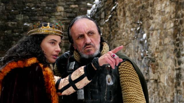 Portrait of queen with his warrior in her castle