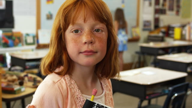 cu portrait of schoolgirl (8-9) in classroom, manchester, vermont, usa - human face stock videos & royalty-free footage