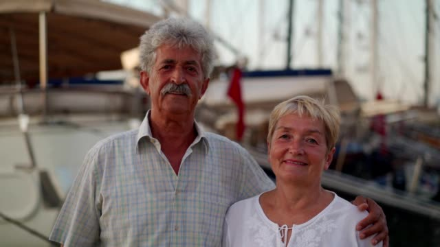 portrait of senior couple near the sea - mediterranean sea stock videos & royalty-free footage