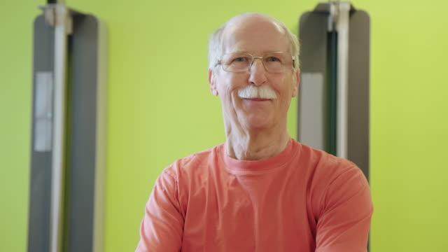 portrait of senior man at health club - rehabilitation center stock videos & royalty-free footage