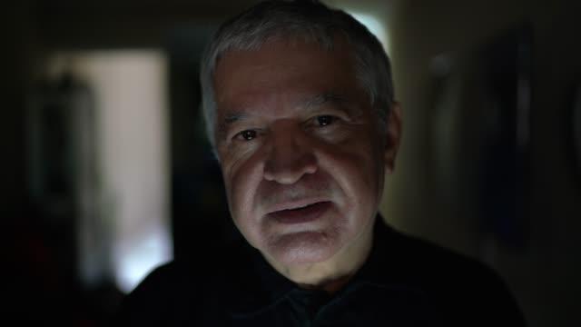 portrait of senior man - dark stock videos & royalty-free footage