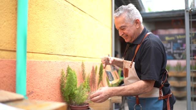 portrait of senior man watering plants - southern european stock videos & royalty-free footage