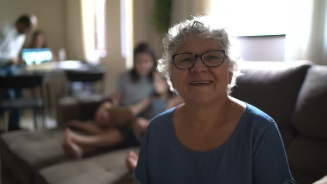 portrait of senior woman at home - grandmother stock videos & royalty-free footage