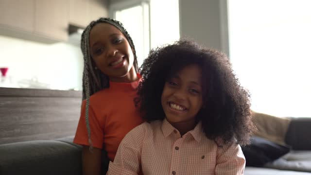 portrait of sisters at home - natural black hair stock videos & royalty-free footage