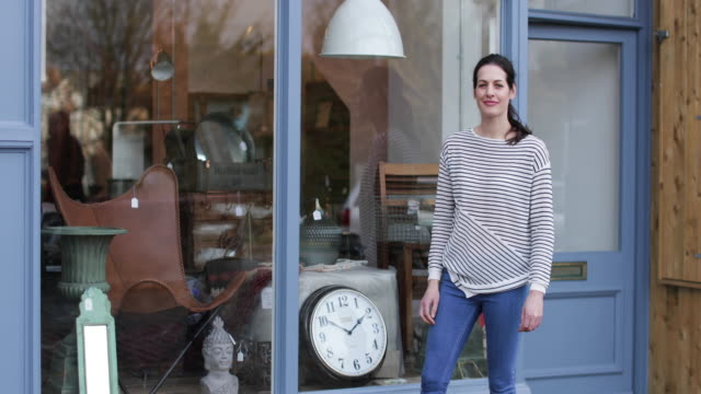 portrait of small business owner outside store - antique stock videos & royalty-free footage
