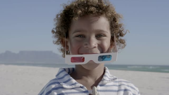 portrait of smiling boy playing with 3-d glasses - 3d glasses stock videos & royalty-free footage