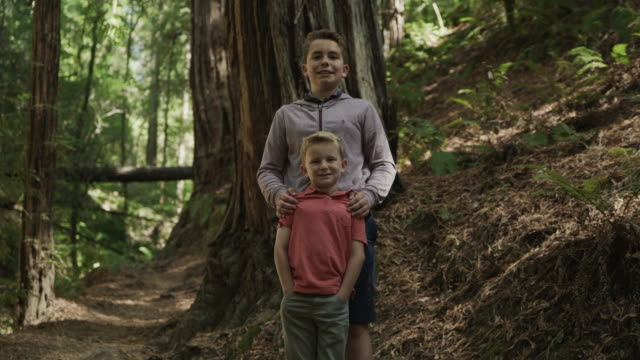 vídeos de stock, filmes e b-roll de portrait of smiling boys standing in forest looking at camera / muir woods, california, united states - low angle view