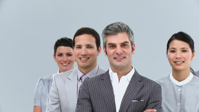 cu pan portrait of smiling business team / cape town, western cape, south africa - 背広点の映像素材/bロール