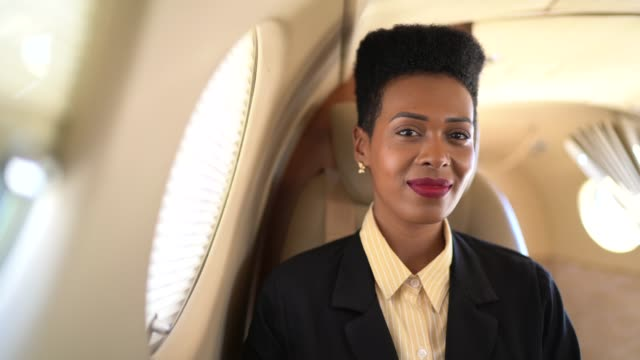 portrait of smiling businesswoman looking at camera in a corporate jet - passenger stock videos & royalty-free footage