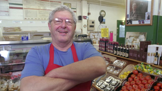 cu, portrait of smiling gourmet deli owner, dorset, vermont, usa - contented emotion stock videos & royalty-free footage