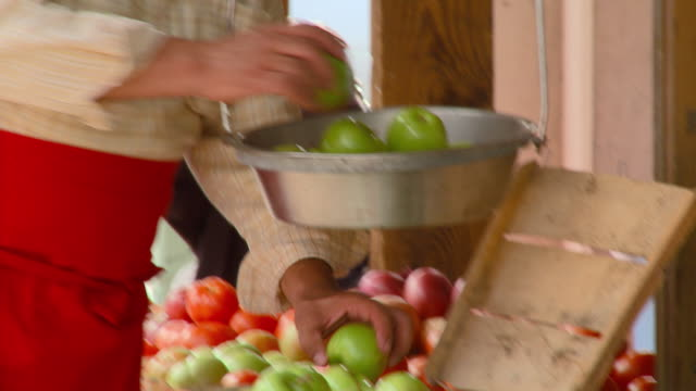 cu, tu, portrait of smiling grocery store owner weighing apples on scale, richmond, virginia, usa - greengrocer stock videos & royalty-free footage